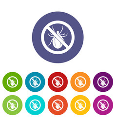 No bug sign set icons vector
