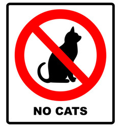 No catsprohibiting sign location or entry pets vector