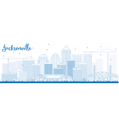Outline jacksonville skyline with blue buildings vector