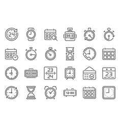 outline time icon timekeeper stopwatch and timer vector image