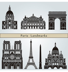 Paris landmarks and monuments vector