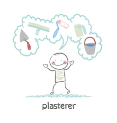 plasterer thinks about his instruments for vector image