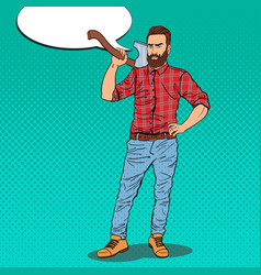 Pop art hipster lumberjack with beard and axe vector