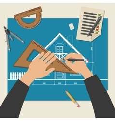 Process of designing the house vector