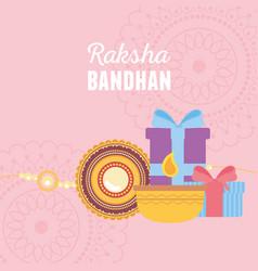 Raksha bandhan bracelet candle and gift boxes vector