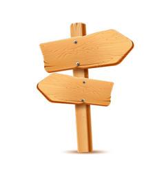 Realistic wooden signboard arrow signpost a vector