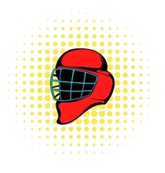 Red hockey helmet with cage icon comics style vector