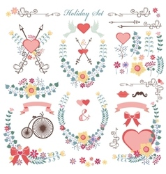 Retro Holiday set with flowersswirls decoreps vector