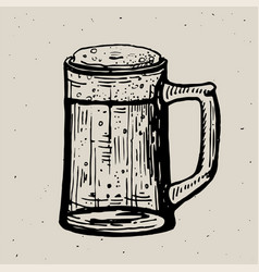 retro style beer mug or glass engraving local vector image
