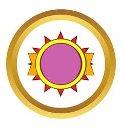 Round violet badge icon cartoon style vector