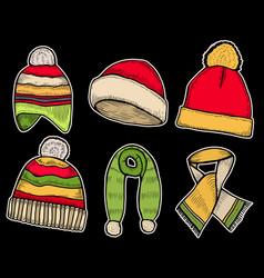 santa stocking cap and scarfs vector image