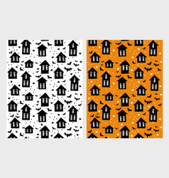 scary houses and bats patterns vector image