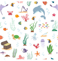 sea fish sea animals and water plant seamless vector image
