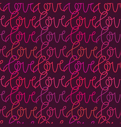 seamless hearts pattern with love word vector image