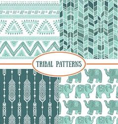 Set of tribal striped seamless pattern Geometric vector