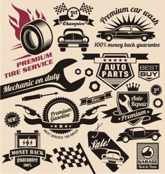 Set of vintage car symbols and logo designs vector image vector image