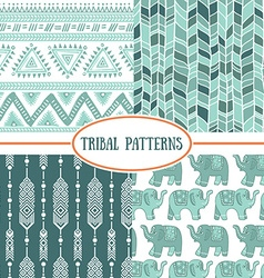 set tribal striped seamless pattern geometric vector image