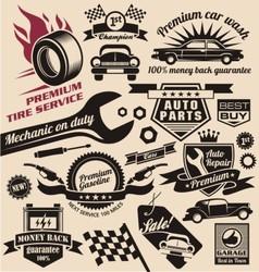 Set vintage car symbols and logo designs vector