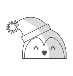 Shadow christmas penguin face cartoon vector