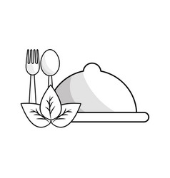 Silhouette tray with spoon and fork tools with vector