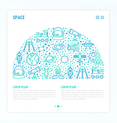 space concept in half circle with thin line icons vector image