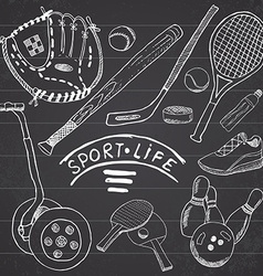 sport sketch doodles elements hand drawn set vector image