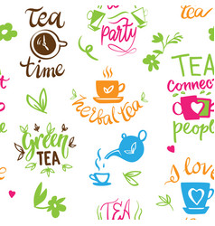 teatime quote set lettering cup tea vector image