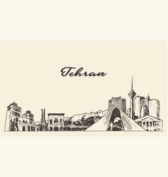 Tehran skyline iran drawn linear art sketch vector