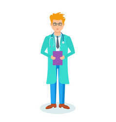 The doctor in the hospital with documents in hand vector