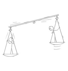 Two persons on balance scale employee potential vector