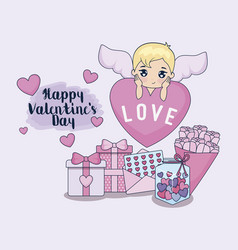 valentine day card with cupid and set icons vector image