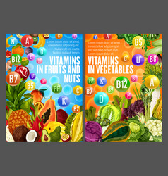vitamins and minerals form fruits veggies vector image