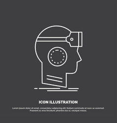 Vr googles headset reality virtual icon line vector