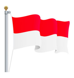 Waving indonesia flag isolated on a white vector