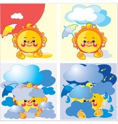 weather summer set vector image