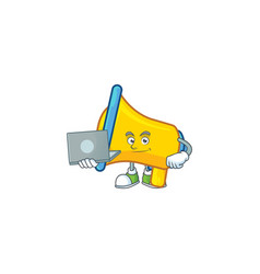 With laptop yellow loudspeaker cartoon character vector