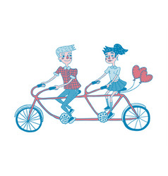 Young couple riding tandem bicycle dating vector