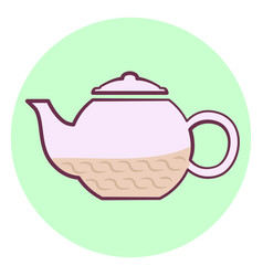 cute outline purple teapot icon teapot with tea vector image