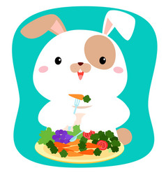 Rabbit cartoon eating vegetable vector