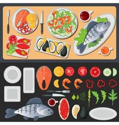Sea Food Healthy Food Prepared Fish Vegetables vector image vector image