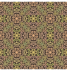 Colorful graphic flower pattern on brown vector image vector image