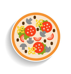 pizza with sausage tomatoes mushrooms and cheese vector image vector image