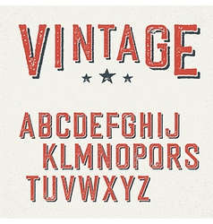 Vintage red grunge and shadowed alphabet letters vector image vector image