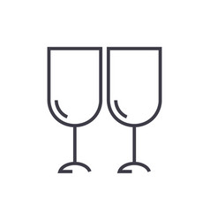 wine glasses winery line icon sign vector image