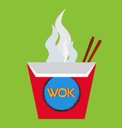 wok box with chopsticks vector image