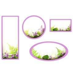 banners with viola flowers vector image vector image