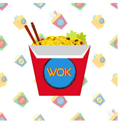 chinese japan wok fast food pattern in flat style vector image