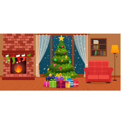 christmas room interior with fireplace vector image