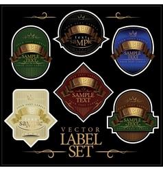 detailed ornate various color label set vector image