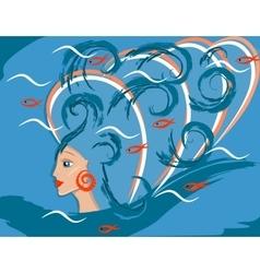 fantastic sea girl or woman mermaid vector image